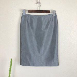 •CALVIN KLEIN• Gray Metallic Sheen Pencil Skirt